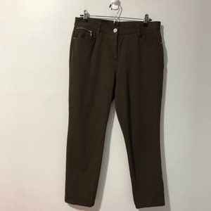 So Slimming by Chico's Brown Stretch Pants Size 15